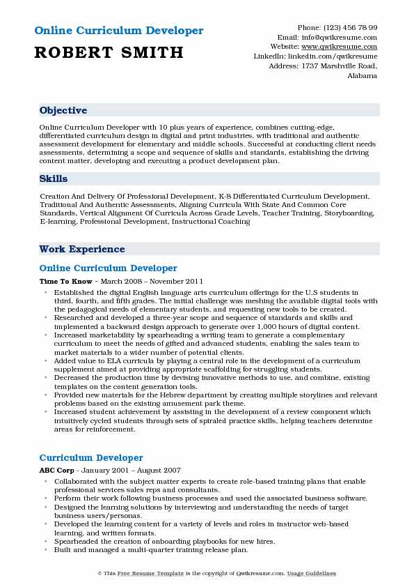 Online Curriculum Developer Resume Example