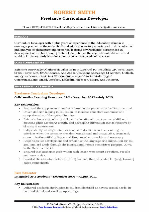 Freelance Curriculum Developer Resume Template