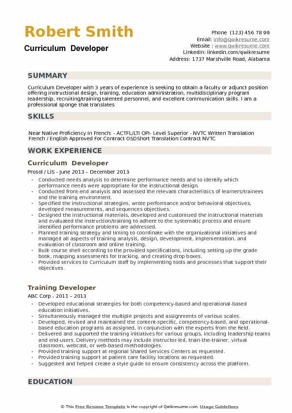 Curriculum Developer Resume example