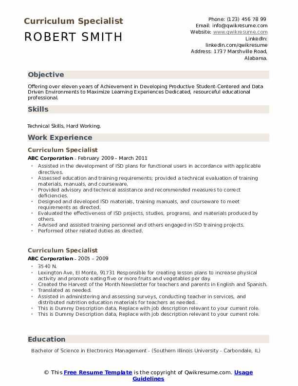 Curriculum Specialist Resume example