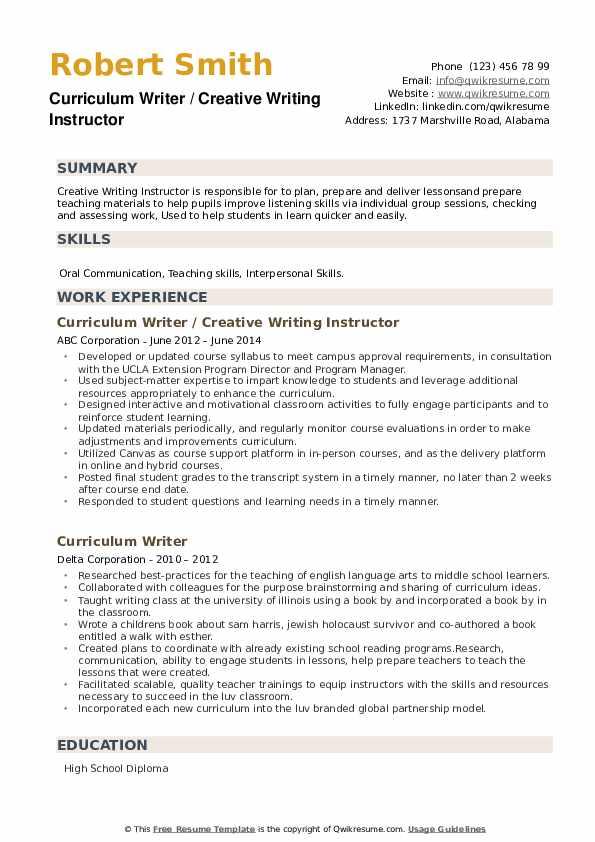 Curriculum Writer Resume example
