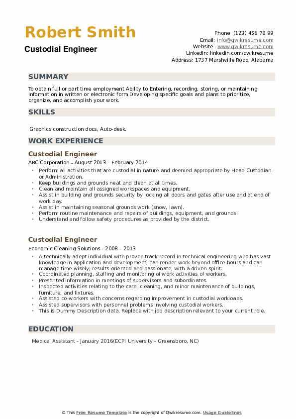Custodial Engineer Resume example