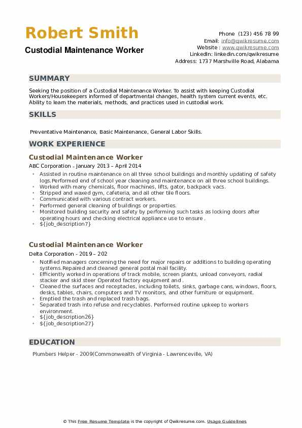 Custodial Maintenance Worker Resume example