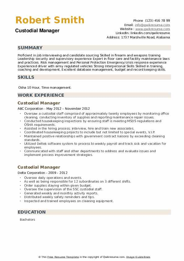Custodial Manager Resume example