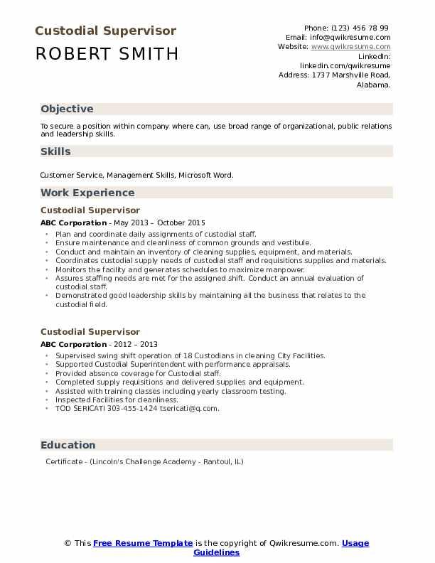 Custodial Supervisor Resume example