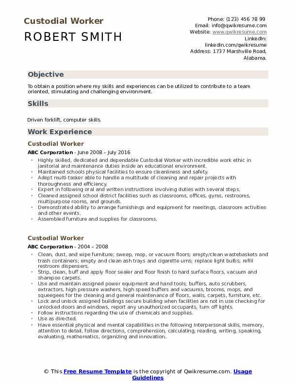Custodial Worker Resume Sample