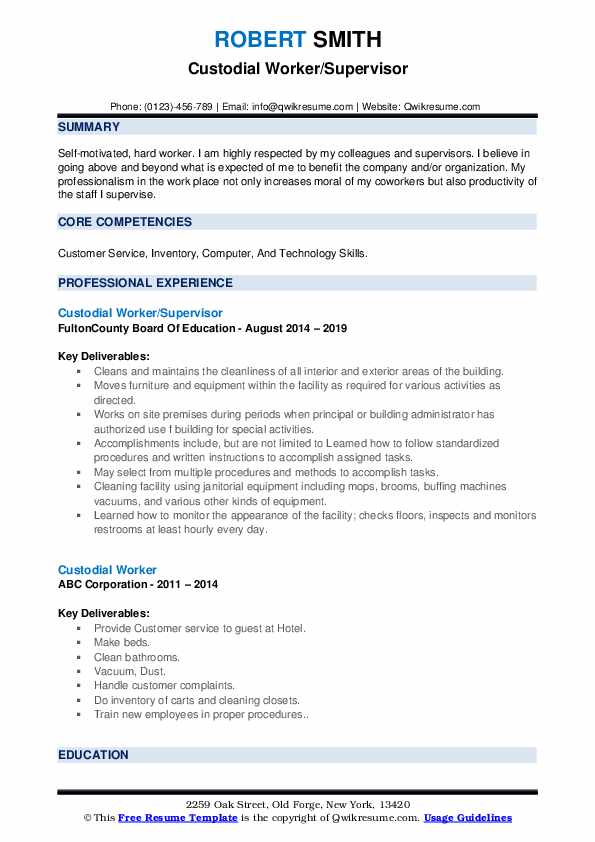 Custodial Worker/Supervisor Resume Format