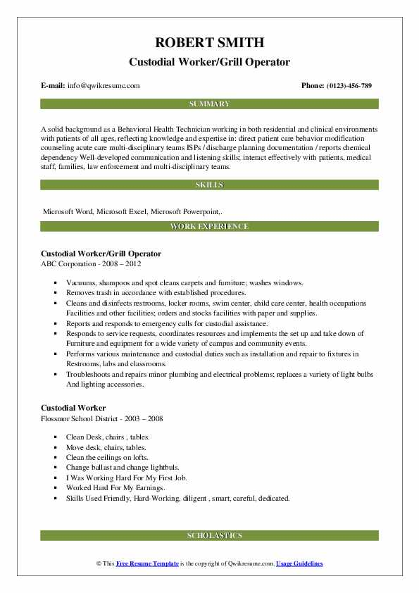 Custodial Worker/Grill Operator Resume Example