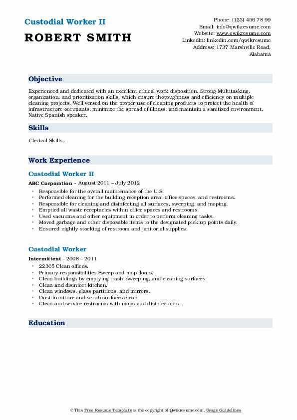 Custodial Worker II Resume Sample