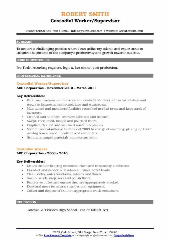 Custodial Worker/Supervisor Resume Sample