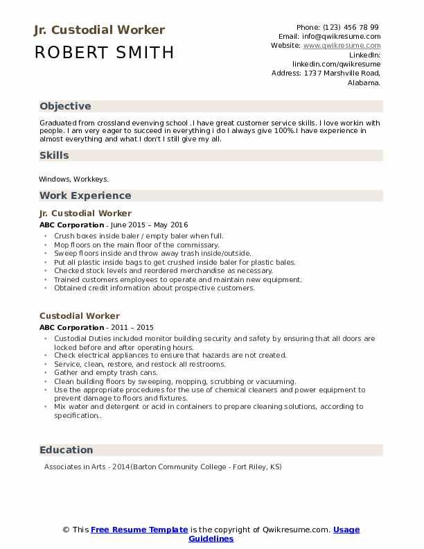 Jr. Custodial Worker Resume Example