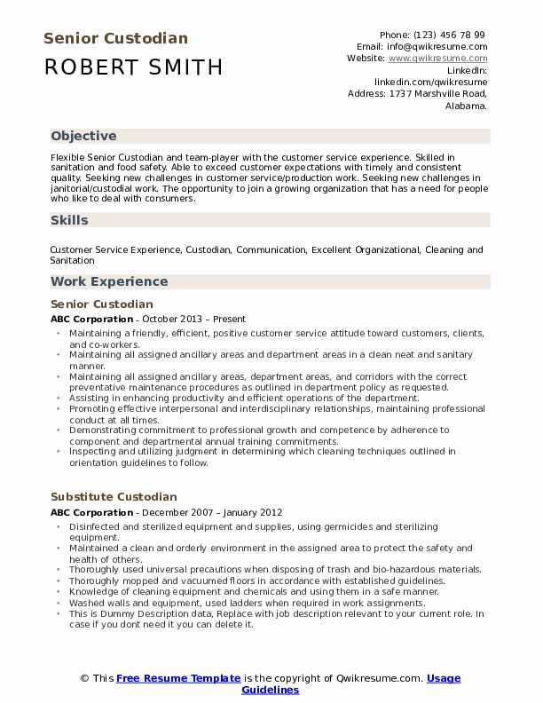 custodian resume samples
