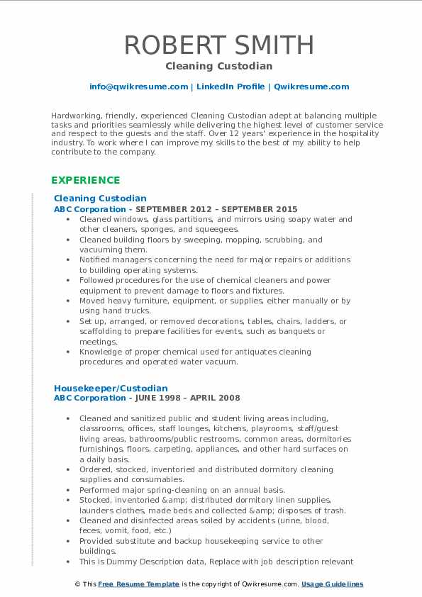 Cleaning Custodian Resume Format
