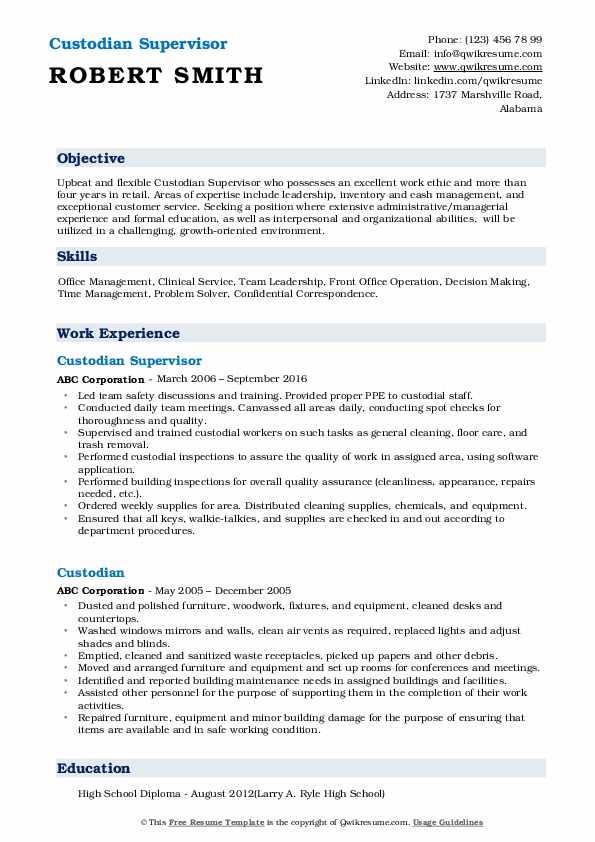 Custodian Supervisor  Resume Sample