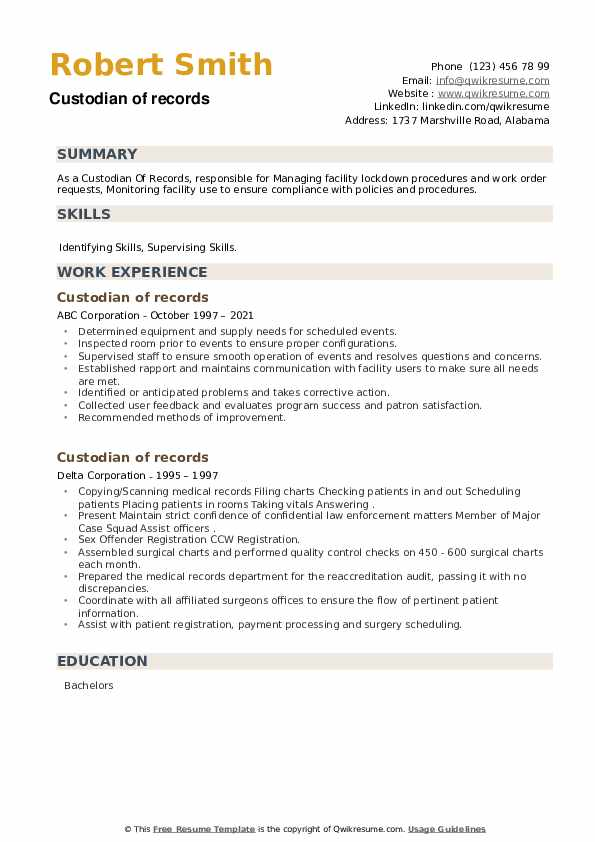 Custodian of records Resume example