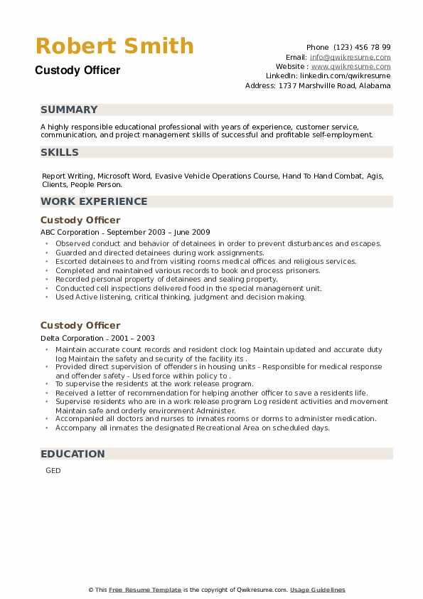 Custody Officer Resume example