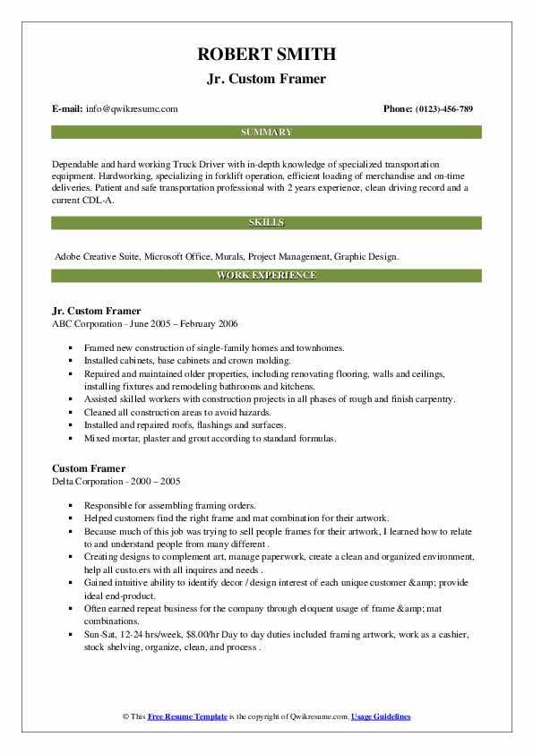 Custom framing resume