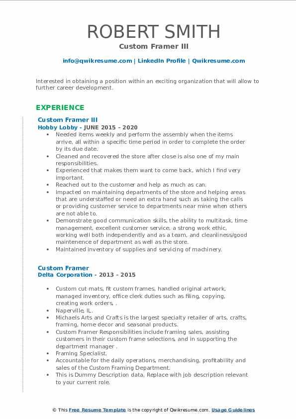 Custom framer resume
