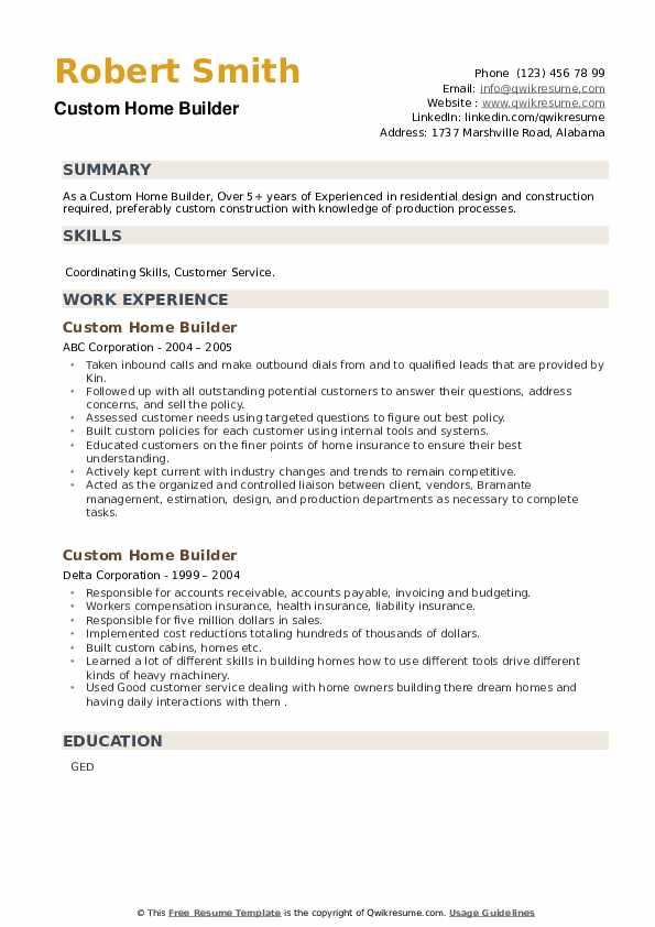 Custom Home Builder Resume example