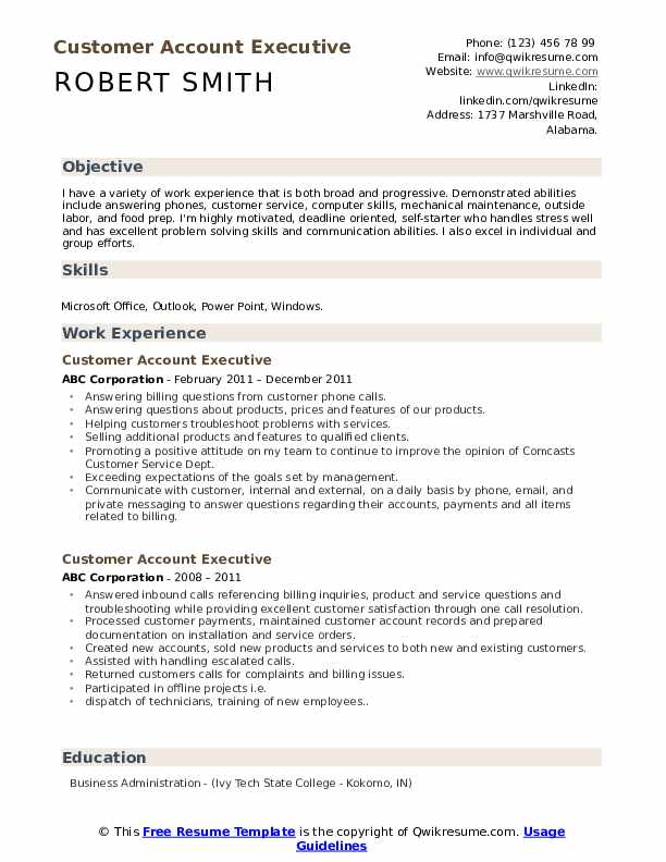 Customer Account Executive Resume Model