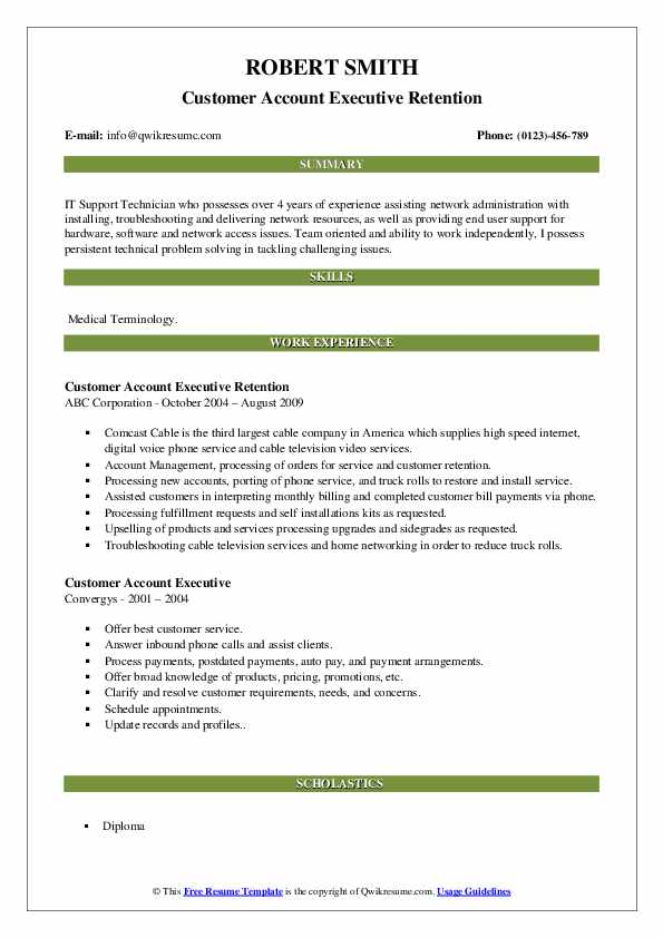 Customer Account Executive Retention Resume Format