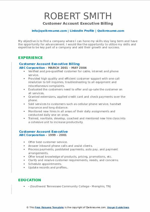 Customer Account Executive Billing Resume Sample