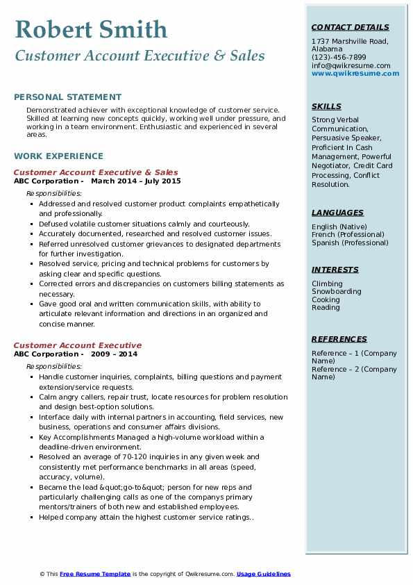 Customer Account Executive & Sales Resume Format