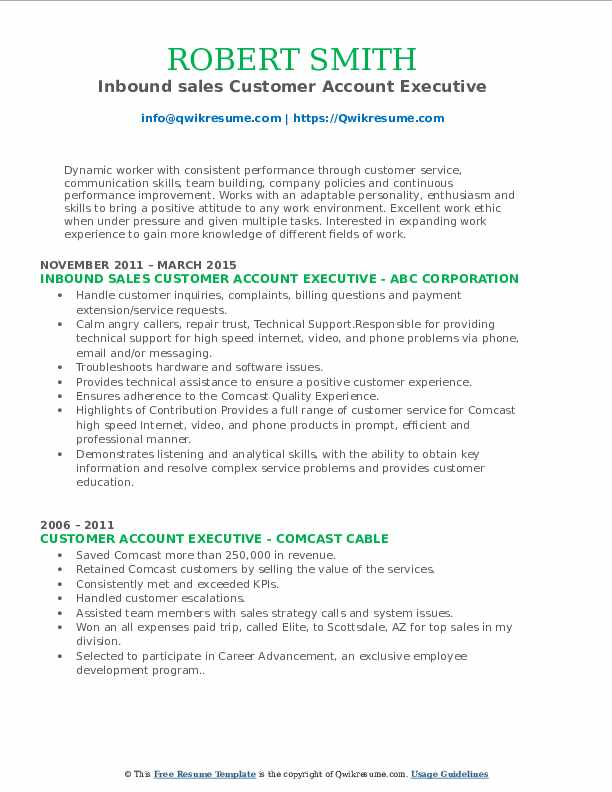 Inbound sales Customer Account Executive Resume Model