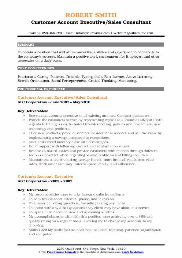 Customer Account Executive/Sales Consultant Resume Template