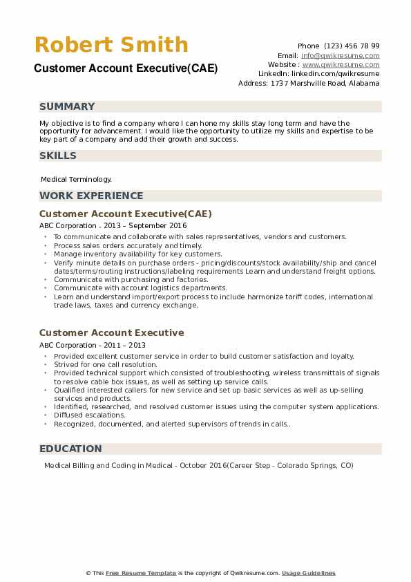 Customer Account Executive(CAE) Resume Example
