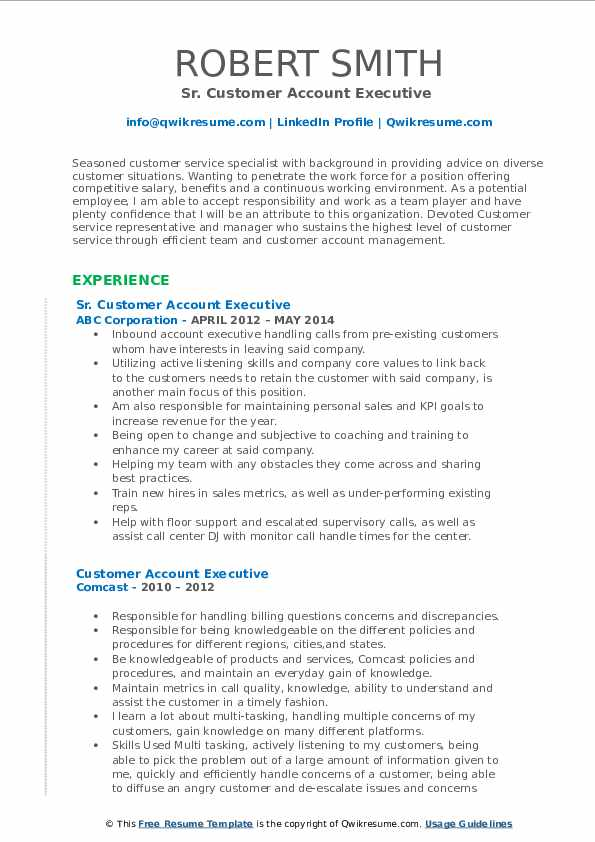 Sr. Customer Account Executive  Resume Example