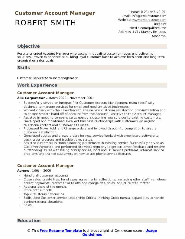 Customer Account Manager Resume Sample