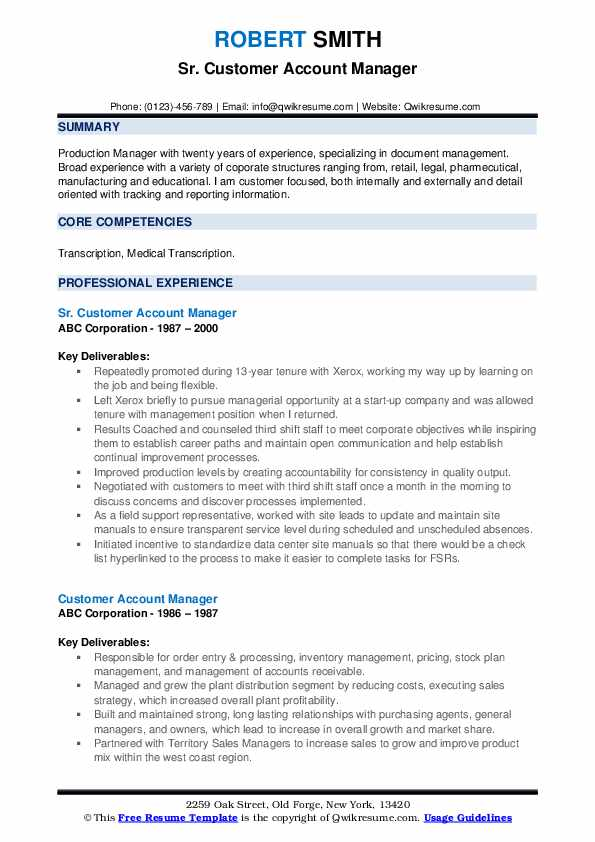 Sr. Customer Account Manager Resume Sample