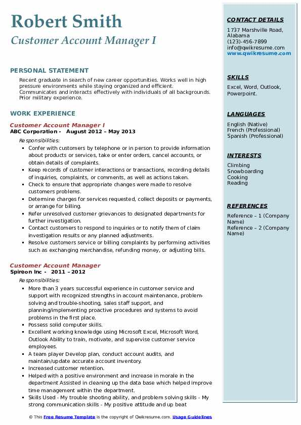 Customer Account Manager I Resume Template