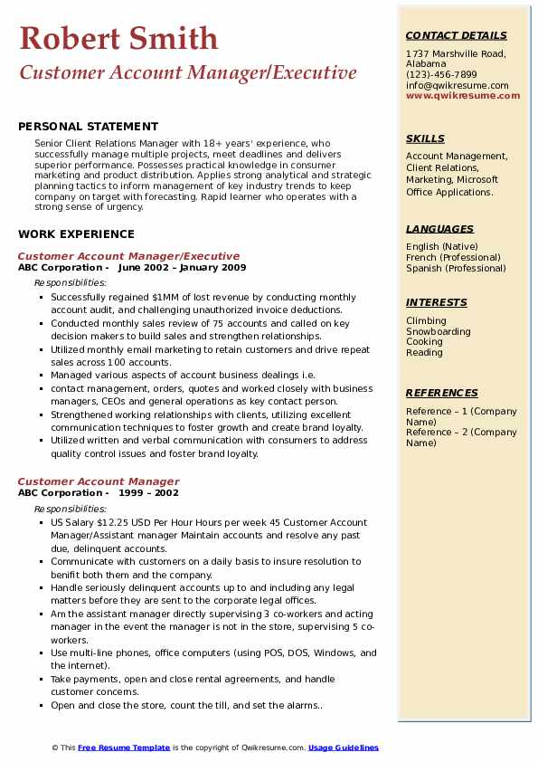 Customer Account Manager/Executive Resume Model