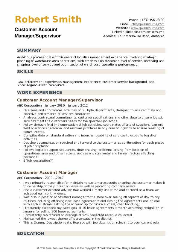 Customer Account Manager/Supervisor Resume Format