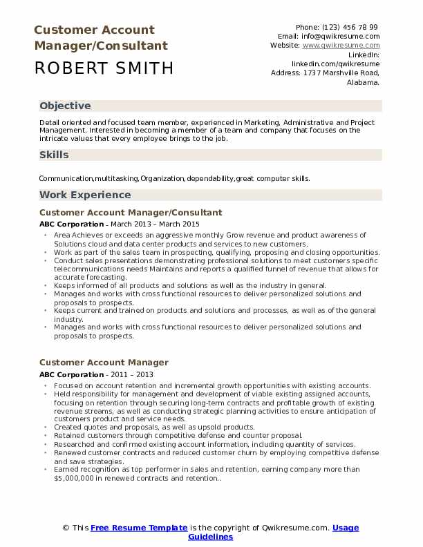 Customer Account Manager/Consultant Resume Sample