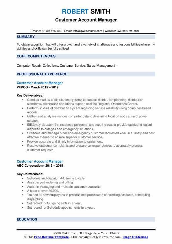 Customer Account Manager Resume example