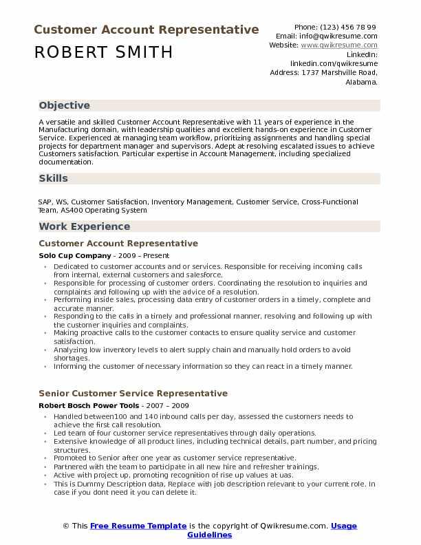 Customer Account Representative Resume Example