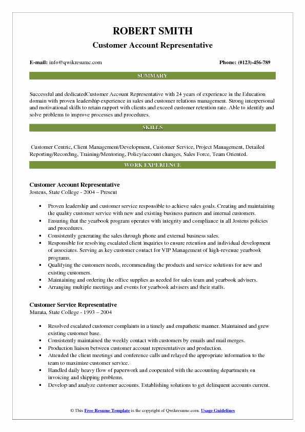 Customer Account Representative Resume Model