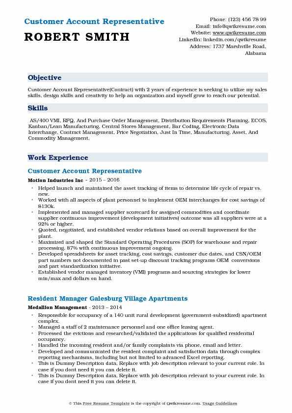 Customer Account Representative Resume Template