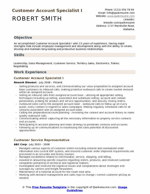 Customer Account Specialist I Resume Template