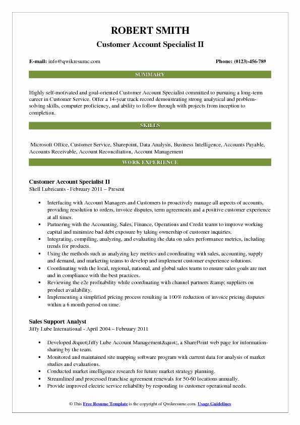 Customer Account Specialist II Resume Example