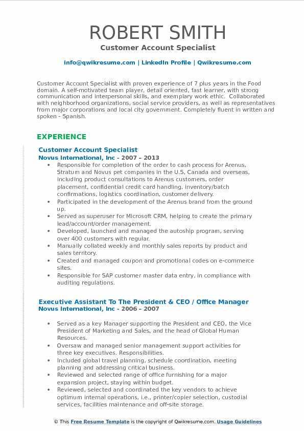 Customer Account Specialist Resume Format