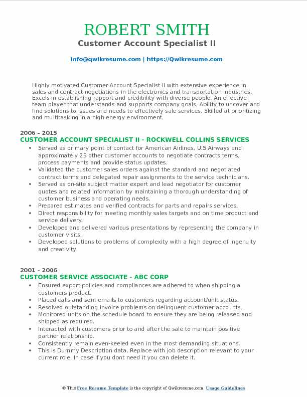 Customer Account Specialist II Resume Sample