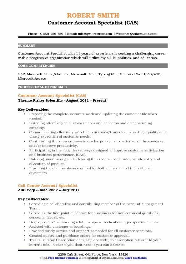 Customer Account Specialist (CAS) Resume Template