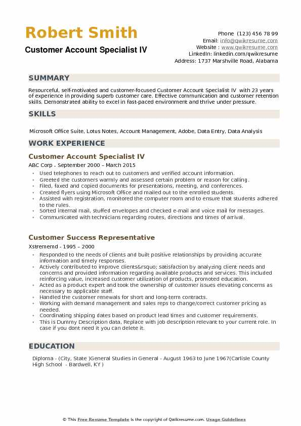 Customer Account Specialist IV Resume Model