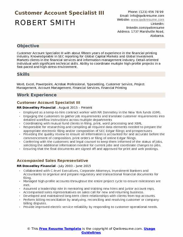 Customer Account Specialist Resume example