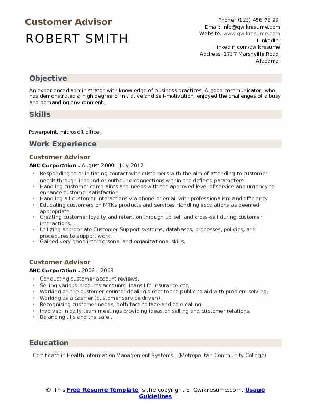 Customer Advisor Resume Model
