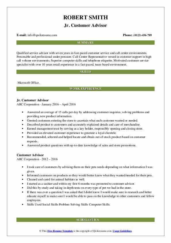 Jr. Customer Advisor Resume Model